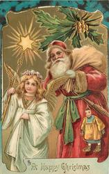 A HAPPY CHRISTMAS  Santa right, angel holds up star shaped light left