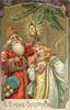 A HAPPY CHRISTMAS  Santa holds up light, angel right