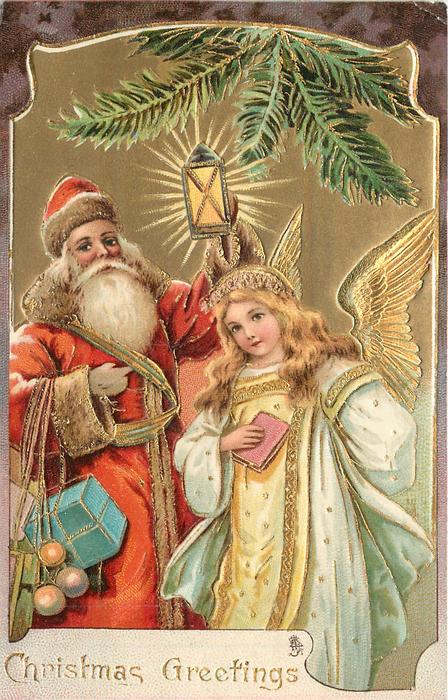 CHRISTMAS GREETINGS  Santa holds up light, angel right