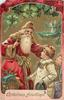 CHRISTMAS GREETINGS  Santa has his left hand on head of boy
