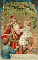 A HAPPY CHRISTMAS  Santa shows puppet to girl sitting on his arm, boy stands below