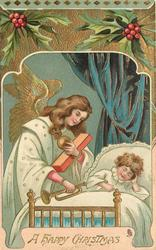 A HAPPY CHRISTMAS  angel brings toys to bedside of sleeping child
