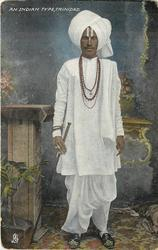 AN INDIAN TYPE, holy man wearing white,turban & full robes,sandals, cane held in right hand