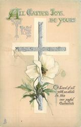 ALL EASTER JOY BE YOURS silver cross with white poppy