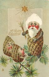 A HAPPY CHRISTMAS  senior Pine-Cone person threatens two youngsters with switch