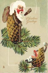 CHRISTMAS GREETINGS  small Pine-Cone person threatens senior with snowballs