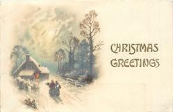 CHRISTMAS GREETINGS  inset left snow scene two women walk away to lighted cottage