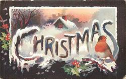 CHRISTMAS  in large letters across card, snow scene, robin front right