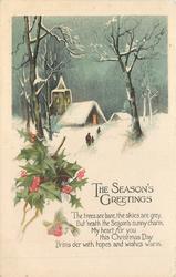 THE SEASON'S GREETINGS   snowy church & holly, three people on path