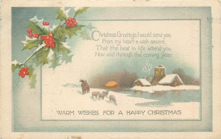 WARM WISHES FOR A HAPPY CHRISTMAS inset scene: man and sheep, church behind stream, sunset