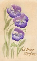three purple pansies, green stem & leaves