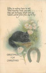 GREETINGS FOR CHRISTMAS black kitten on wall, horseshoe, verse