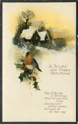 A BRIGHT AND HAPPY CHRISTMAS snow, cottage, robin on holly
