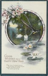 GOOD WISHES FOR A HAPPY NEW YEAR  rural inset, swans & water lilies