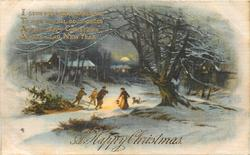 A HAPPY CHRISTMAS  winter night scene, three men pull sled with holly & trees, woman lights their way