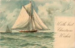 WITH BEST CHRISTMAS WISHES  sailing ship moves right