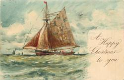 A HAPPY CHRISTMAS TO YOU  sailing vessel sails left