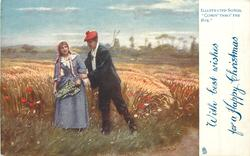 WITH BEST WISHES FOR A HAPPY CHRISTMAS  man holds wrist of woman in field of rye