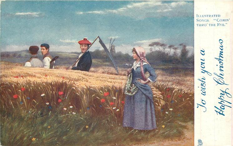 TO WISH YOU A HAPPY CHRISTMAS  man with scythe looking at woman in field of rye