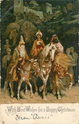 WITH BEST WISHES FOR A HAPPY CHRISTMAS  three wise men riding