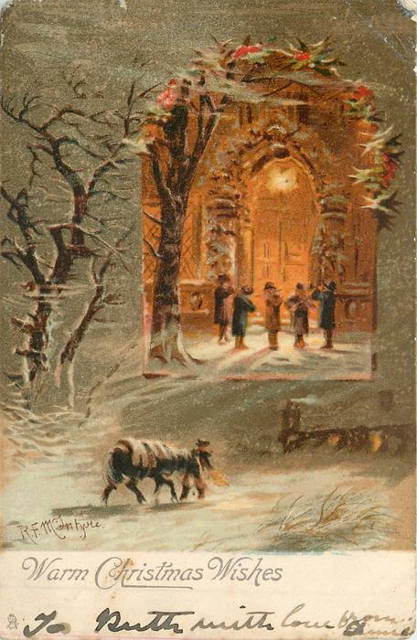 WARM CHRISTMAS WISHES  inset musicians playing, snow scene around
