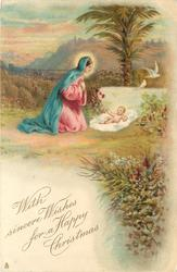 WITH SINCERE WISHES FOR A HAPPY CHRISTMAS  Madonna & Jesus, doves & date palm