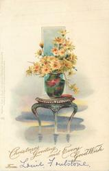 CHRISTMAS GREETING AND EVERY GOOD WISH  FROM  vase of yellow daisies on stool