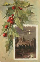A HAPPY CHRISTMAS oblong inset moonlight castle scene