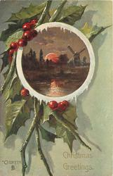 CHRISTMAS GREETINGS, round inset moonlight scene with windmill