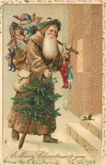 A MERRY CHRISTMAS TO YOU  fawn coated Santa walks right to steps carrying tree & many presents