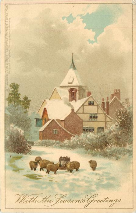 WITH THE SEASON'S GREETINGS sheep, with village behind