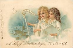 *A HAPPY CHRISTMAS TO YOU  one angel plays harp, the other sings, winter church scene in background