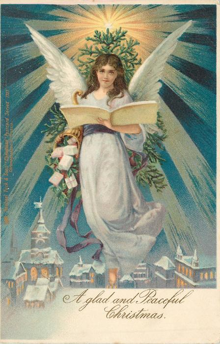 *A GLAD AND PEACEFUL CHRISTMAS  angel in blue/white dress floats over town, reading