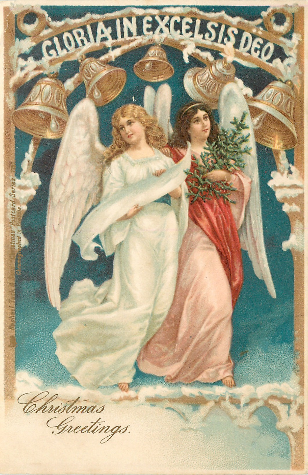***CHRISTMAS GREETINGS two angels float under bells & GLORIA IN EXCELSIS DEO - TuckDB Postcards