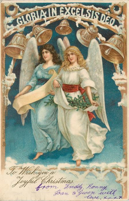 TO WISH YOU A JOYFUL CHRISTMAS  two angels float under bells & GLORIA IN EXCELSIS DEO