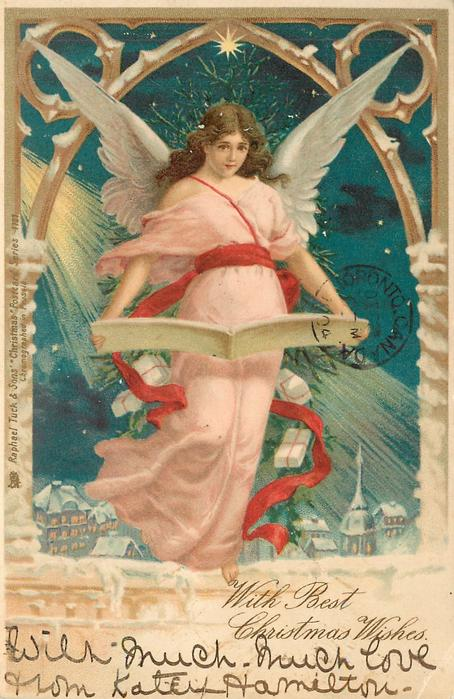 WITH BEST CHRISTMAS WISHES  angel in pink robe floats over town reading