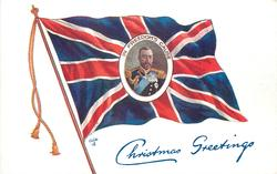 flag with inset of GV, head & shoulders, surrounded by IN FREEDOM'S CAUSE