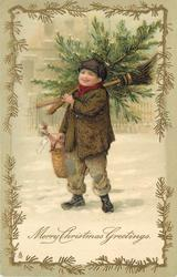 MERRY CHRISTMAS GREETINGS boy carrying  tree, broom & basket walks in snow *