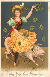 LUCKY NEW YEAR GREETINGS woman on pigs back, 4 leaf clovers around