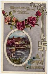A HAPPY CHRISTMAS deep pink roses, swastika, rural inset