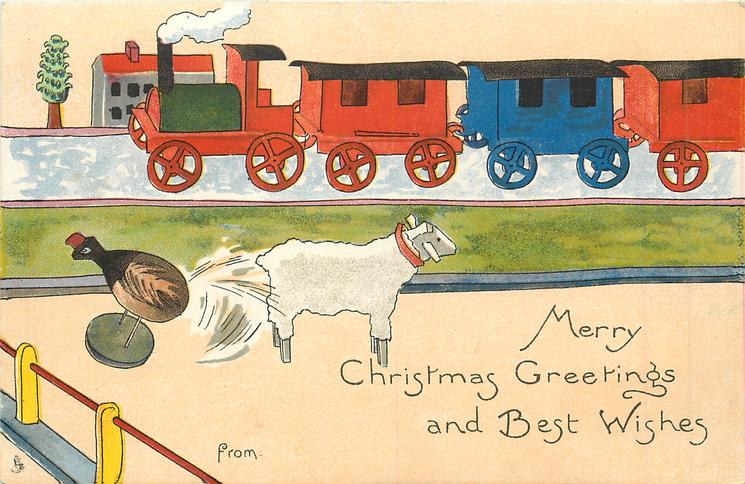 MERRY CHRISTMAS GREETINGS AND BEST WISHES  FROM  wooden train behind, wooden lamb & chicken in front
