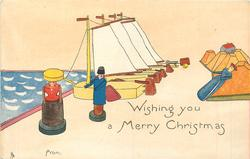 WISHING YOU A MERRY CHRISTMAS  FROM  sailing ships on dock, wooden couple front left, wooden female reclines right back