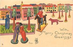 WITH MERRY CHRISTMAS GREETINGS  FROM  wooden couple front,  horseman, dog & houses behind