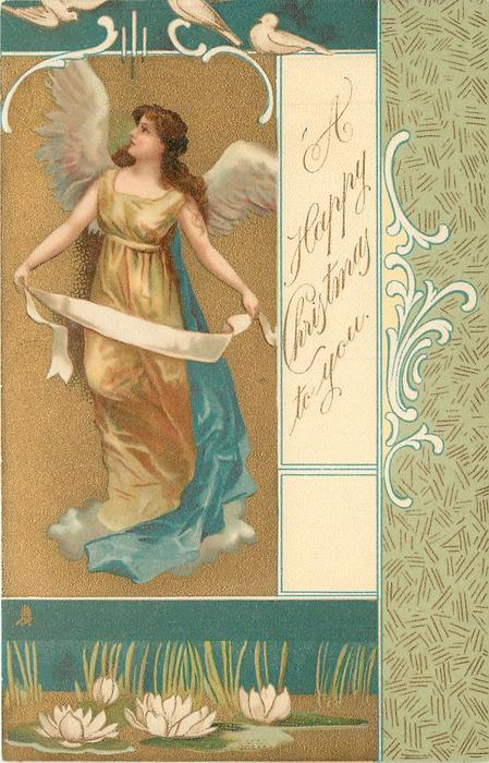 *A HAPPY CHRISTMAS TO YOU  angel on left of card holds ribbon