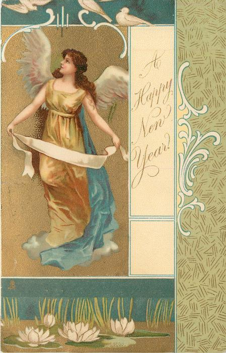 *A HAPPY NEW YEAR  angel on left of card holds ribbon
