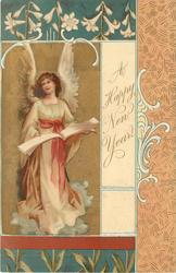 **A HAPPY NEW YEAR  angel on left of card holds open book