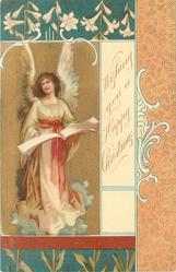 **WISHING YOU A HAPPY CHRISTMAS  angel on left of card holds open book