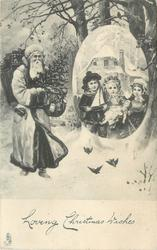 LOVING CHRISTMAS GREETINGS  Santa on left  walking right, ovular insert right with three kids holding gifts