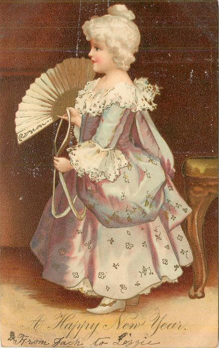 A HAPPY NEW YEAR  blonde girl in purple dress stands, fan in hand, looking left