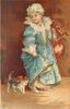 LOVING CHRISTMAS GREETINGS  blonde girl in blue dress looks down at kitten